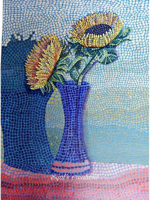 Mosaic Painting Done on Canvas Board with Acrylic Colors