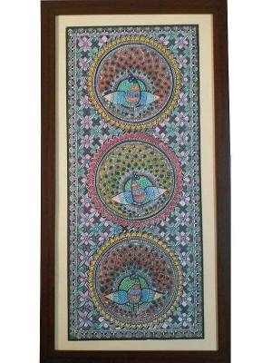 Kachni Style Madhubani Painting of Peacock Done on Paper with Different Pens