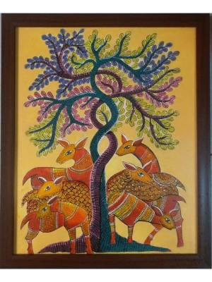Gond Painting of Tree of Life and Deer Done on Canvas with Acrylic Colors
