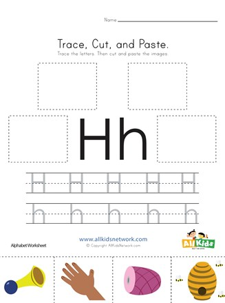 Trace Cut And Paste Letter H Worksheet All Kids Network