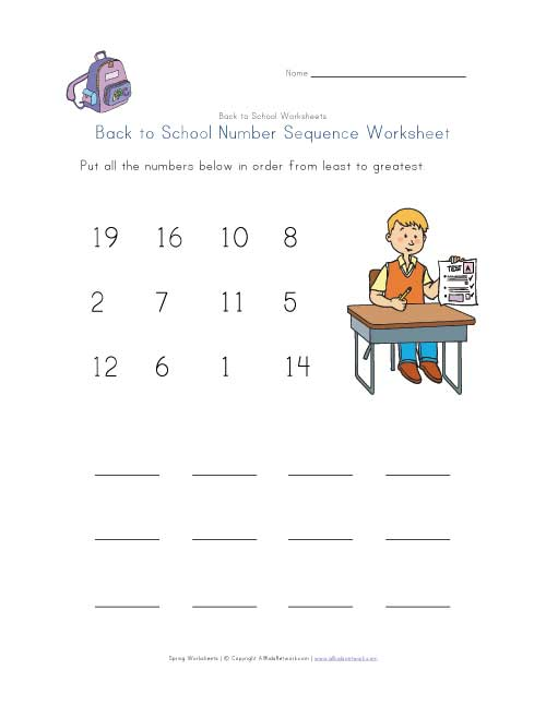 Back To School Number Sequence Worksheet