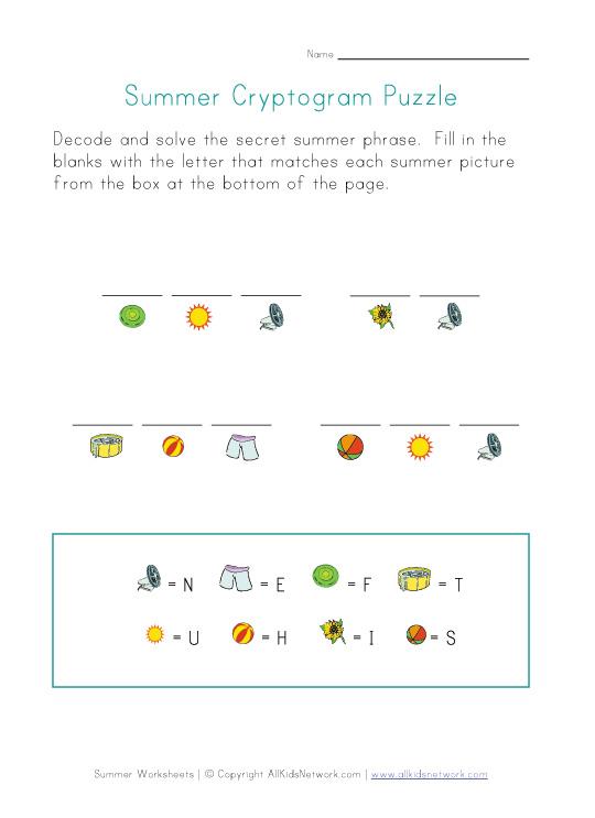 Summer Picture Cryptogram Puzzle