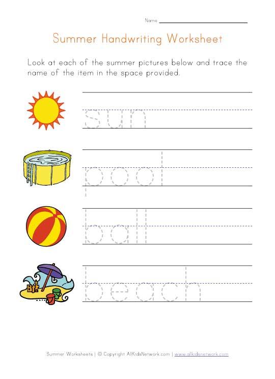 Summer Handwriting Practice Worksheet
