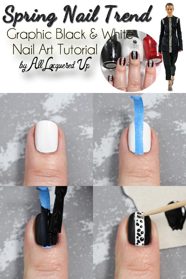 Spring Nail Art Tutorial Graphic Black White