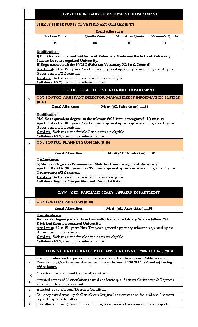 BPSC Advertisement No 12-2014 Jobs Syllabus Qualification