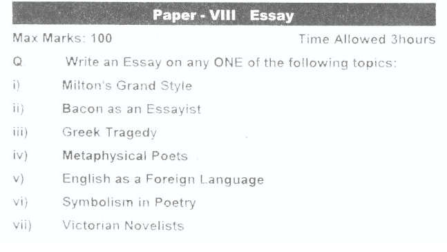 MA English Part-2 Past Papers for Subjects of Essay