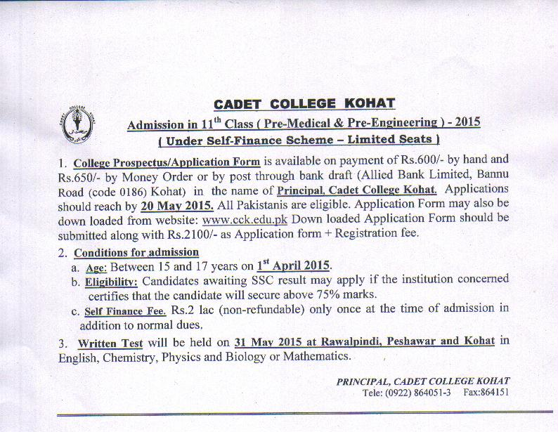 cadet-college-kohat-11th-cl-admission Army Medical College Admission Form Download on army medical home, army medical assessment, army medical school admissions,