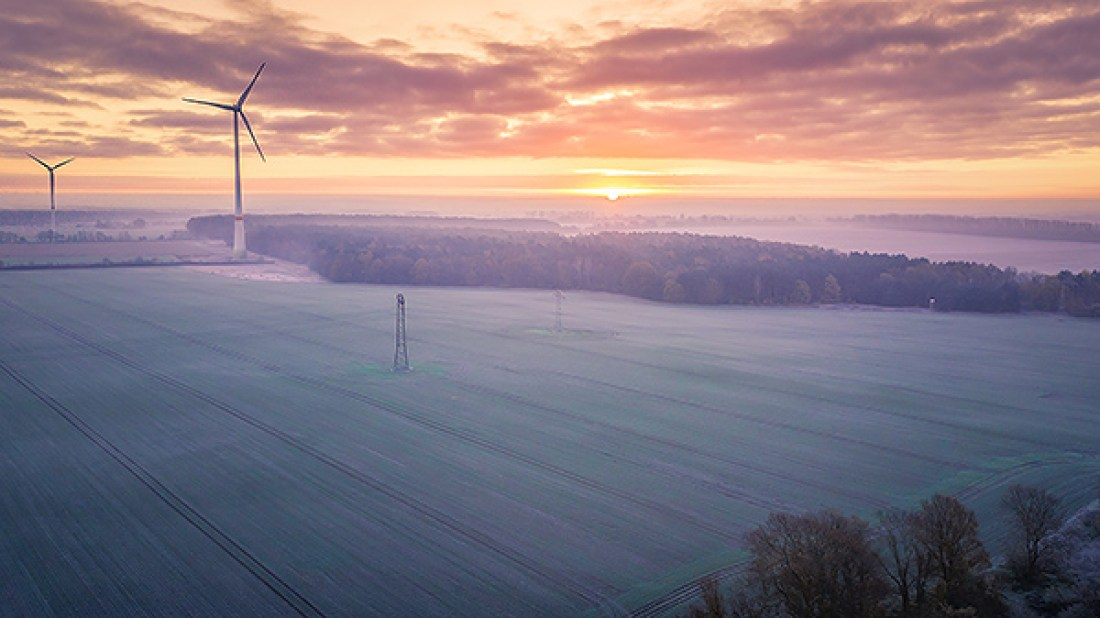 Luftbild Sonnenaufgang Bernau Wilmersdorf Allmie