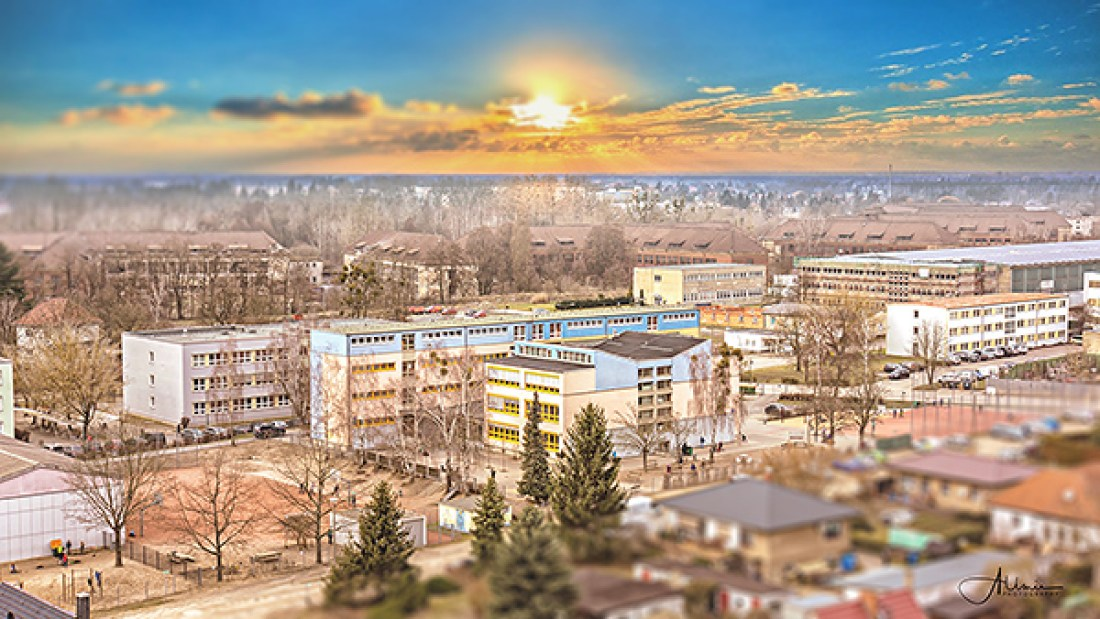 Luftbild Grundschule an der Hasenheide Bernau Allmie