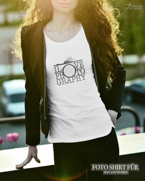 ILOVE PHOTOGRAPHY Lady Shirt talliert Allmie Textieldruck weiss