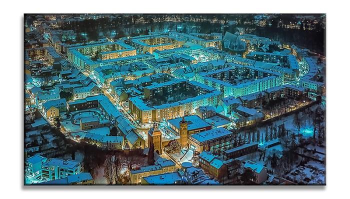 Luftbild Winterwunderland im Cyan Look Allmie