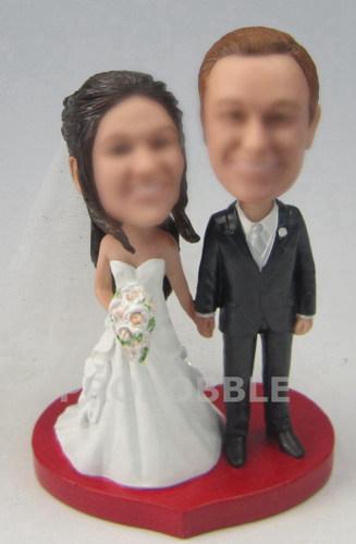 Country Wedding Bobbleheads Cake Topper Heart Shaped Base