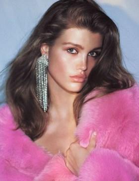 pink fur diamond earrings
