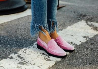 pink velvet loafers