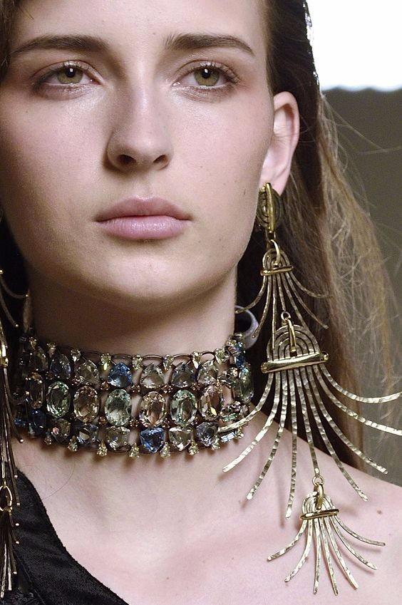 choker, model accessories, gold choker, statement choker