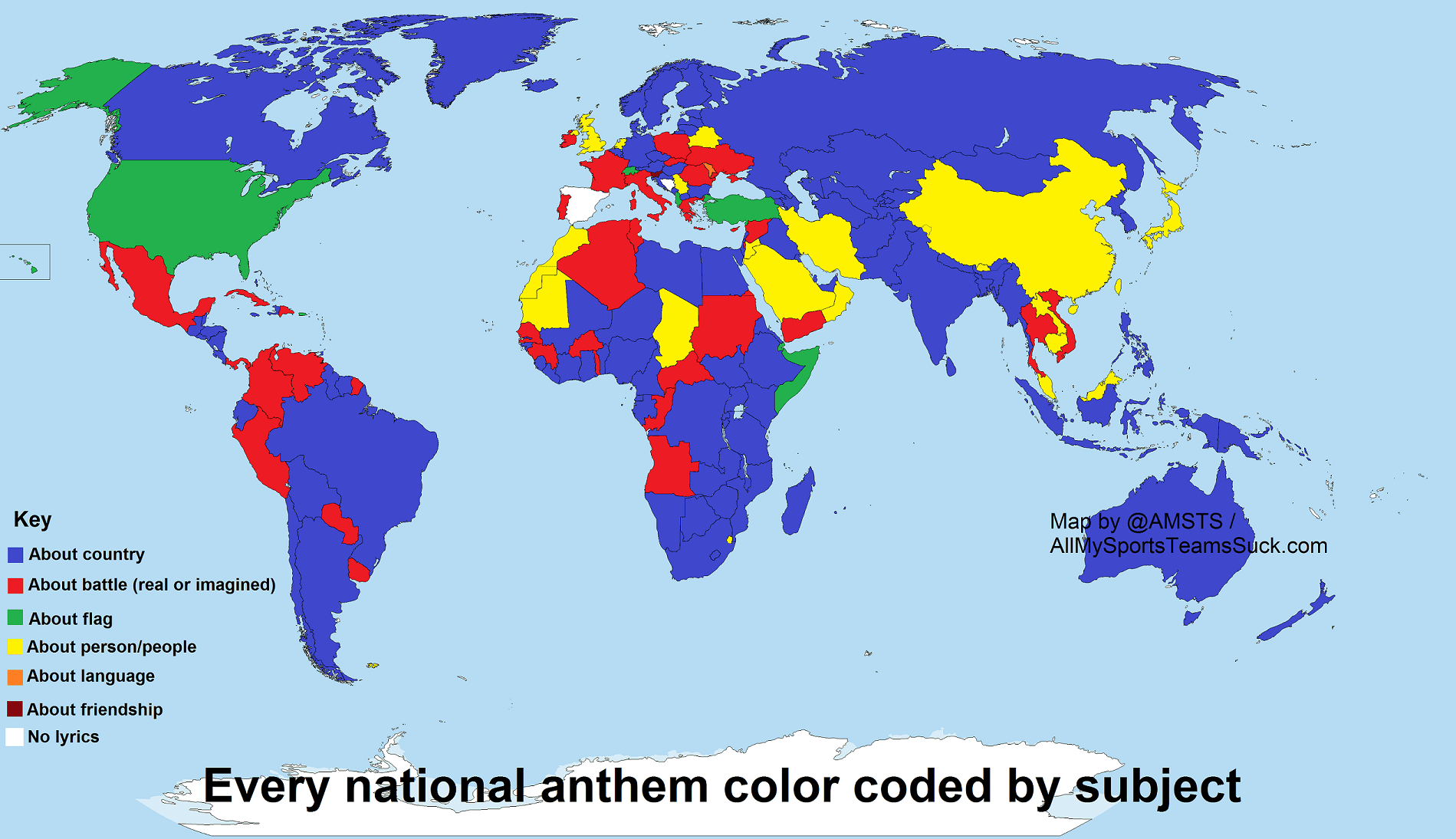 not sports a color coded map of every national anthem u0027s subject
