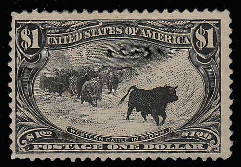 U.S.A. #292 Fine Unused 1898 $1 Cattle in Storm thin