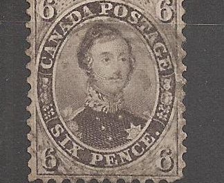 Canada #13 F/VF Used 1859 6d Perforated Pence crease