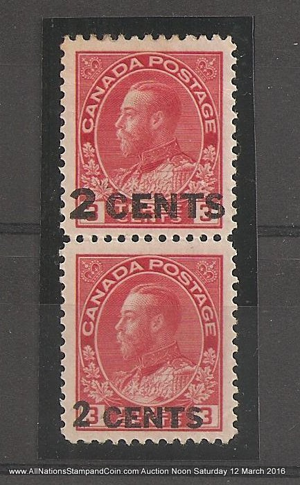 Canada #139v VF Mint 1926 2c on 3c Large & Small Surcharge Essay Pair crease