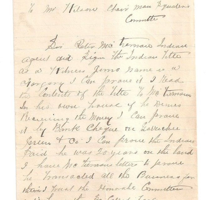 Page 75, 1885 Granville, B.C. 2-page Letter from Sam Greer with various initials