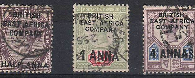 British East Africa #1-3 1890 trio
