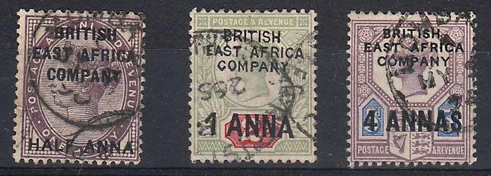 B.E.A. #1-3 gen Fine Used 1890 trio low val flt, colour loss