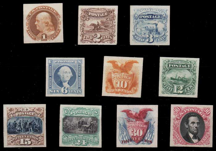 U.S.A. #112PA-122PA 1869 1c-90c Plate Proofs on Card
