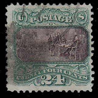 U.S.A. #120 Fine Used 1869 24c Declaration sht perf