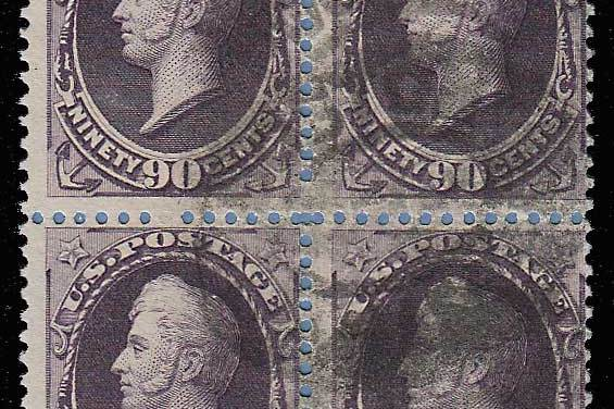 U.S.A. #218 Fine Used 1888 90c Perry Block of Four