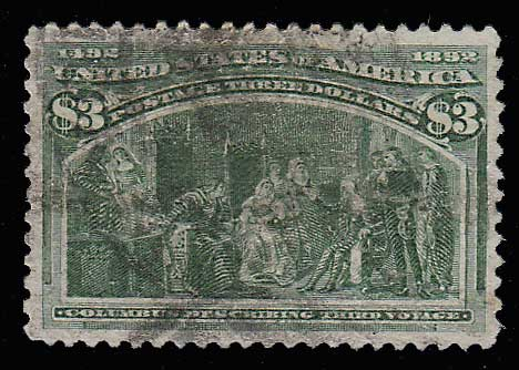 U.S.A. #243 VF smudgy Used 1893 $3 Columbian wr