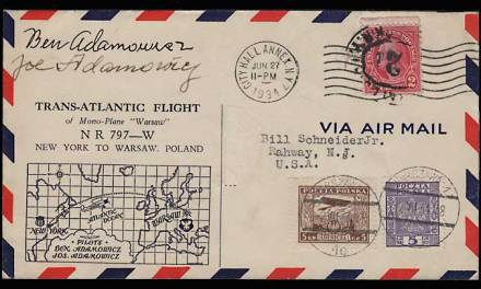 U.S./Poland 27 Jn 1934 Polish Bros Signed Flight Cvr duo