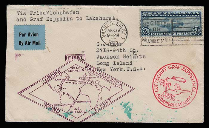 U.S.A. #C15 29 Apr 1930 Graf Zeppelin Flight Cover