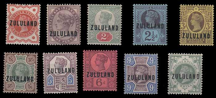Zululand #1-10 gen Fine Mint HR 1888/1893 Set