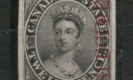 Canada #3Pi VF 1851 12d Black Plate Proof, Carmine Specimen overprint