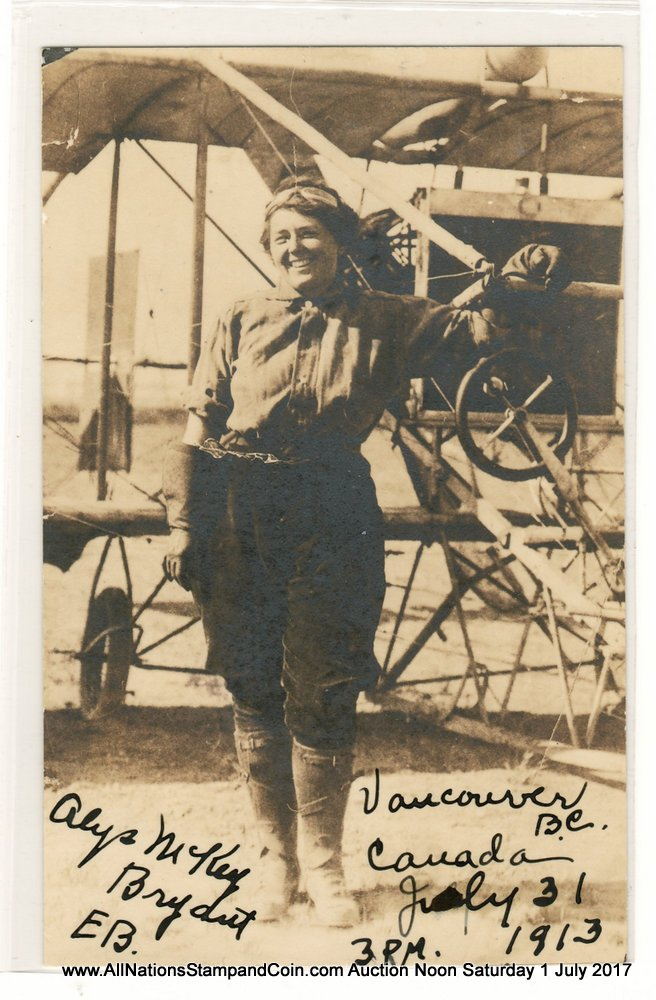 Alys Mckey Bryant, 31 July 1913 Unused Vancouver, B.C. Flight Postcard