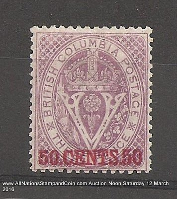 British Columbia #12 F/VF Mint 1867/1871 50c on 3d Violet Perf 14 $900