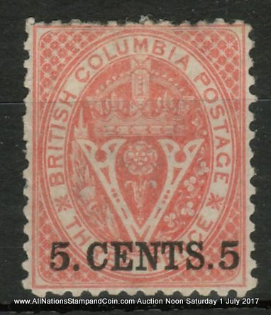 British Columbia #14 Fine Mint HR OG 1869 5c on 3d Bright Red ex Painter $4000