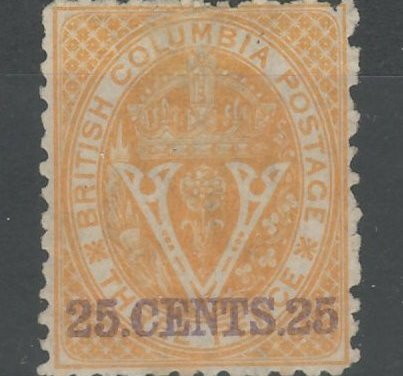 British Columbia #16 Fine Unused 1869 25c on 3d Orange, cple toned perfs