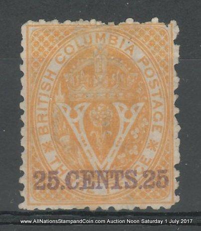 British Columbia #16 Fine Unused 1869 25c on 3d Orange, cple toned perfs