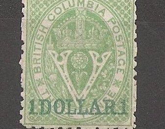 British Columbia #18 F/VF Unused 1869 $1 on 3d Green Perf 12.5
