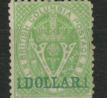 British Columbia #18 1869 $1 on 3d Green