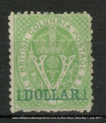 British Columbia #18 Fine Unused 1869 $1 on 3d Green, usual rough perfs