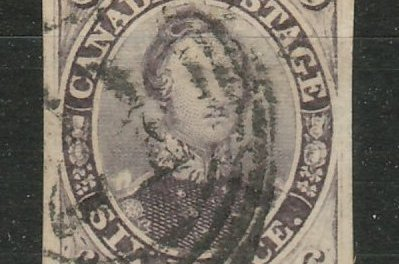 Canada #10 VG Used 1857 6d Reddish Purple Thick Paper, small thin