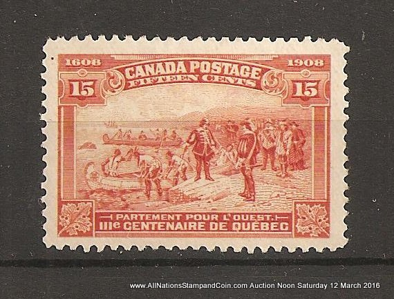 Canada #102 VFNH 1908 15c Quebec lovely example natural spot