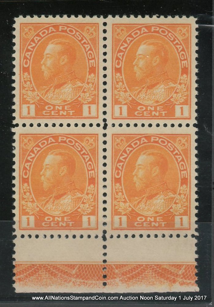 Canada #105LW VFNH 1922 1c Type C Lathework bottom margin Block $600