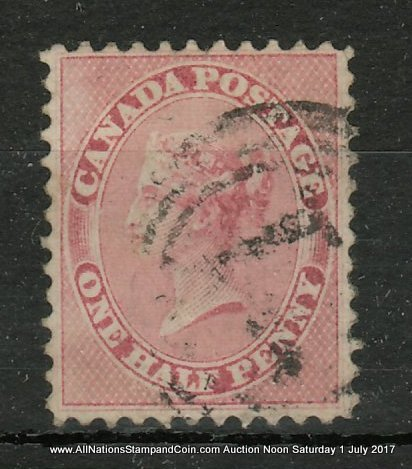 Canada #11 F/VF Used 1858 1/2d Rose Perforated Pence, small flaws