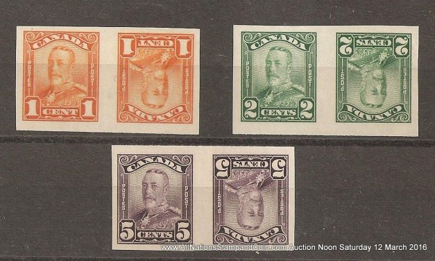 Canada #149cvi-150cvi, 153cvi VF Mint Imperf Tete-Beche 1c/5c Scroll Pair trio