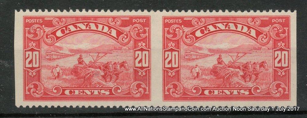 Canada #157b VFNH 1929 20c Harvesting Horizontal Perf by Imperf Pair, gum spot