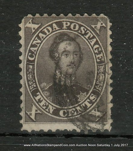 Canada #16 Fine Used 1859 10c Black Brown, corner rounding, small flaws