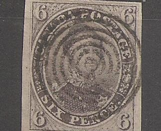 Canada #2 F/VF Used 1851 6d Albert with clear Laid Lines